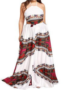 Womens Plus Size Halter Backless African Dashiki Print Beach Party Maxi Dress