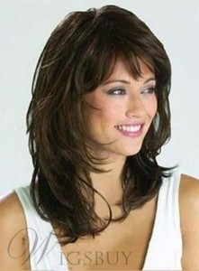 Graceful Medium Wavy Natural Brown 14 Inches Synthetic Wig Hair>>>Free shipping New High Quality Fashion Picture wig