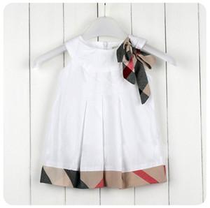 Vestido de las muchachas del bebé del verano del Bowknot de la tela escocesa del volante sin mangas de los niños vestido de la princesa del estilo británico arco de los niños vestido de princesa vestido de 5 colores