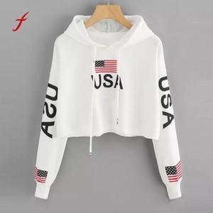 Ombro da gota Bandeira Americana Impressão Moletom Com Capuz Camisola Top Blusa Jumper Mulheres Com Capuz Impresso Casual Pullover Tops sudaderas mujer