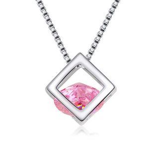Collar de caja de circonio cúbico plateado CZ Diamond Crystal Magic Cube Colgantes Joyería de moda Regalo para mujer