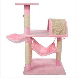 "2018 envío gratis ventas al por mayor M46 32 ""estable Sisal Cat Climb Holder Cat Tower Lamb Pink Cat muebles Scratchers"