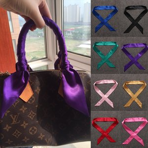 13 Color Ms. Scarf Bag Handle Bufanda Pequeña cinta Decoración Color puro Cinta de seda Bufanda Pequeña pajarita