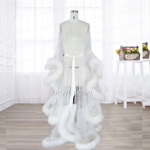 New Ivory Illusion Manica lunga da sposa Feather Robe Birthday Feather Sciarpa Tulle Pregnant Photography Cloak Intimo Apparel Prom Party Wear