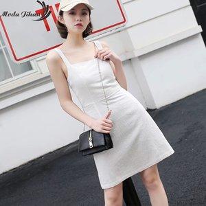 Moda Jiahn Nuove donne Mini abito collo quadrato con Shirred Exposed Back Casual Tank Dress Spaghetti Strap in cotone Lino Abiti