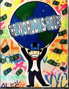 Handpainted HD Baskı Karikatür Graffiti Pop Art yağlıboya Dünya Sizinki, Tuval Yüksek Kaliteli Ev Dekor Duvar Sanatı Çok Boyutları g229