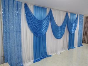 3 * 6 m (10 pi * 20ft) avec Backdrops Paillettes Swag de haute qualité Ice Silk Matériel de soirée de mariage rideau scène fond cantonnière Décoration