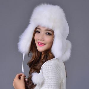 تدفئة اللوحات منفذها سميكة ريال قبعة من الفرو أنثى مصنع الشتاء تصدير الطبيعية مع بومس قبعات الحرة الشحن TBWA121