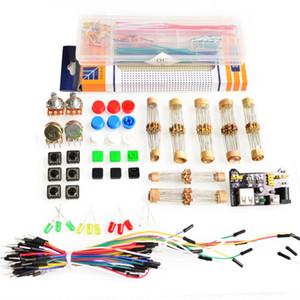 Paquete de piezas genéricas para el kit Arduino + módulo de alimentación de 3.3V / 5V + MB-102 830 puntos Placa para el tablero +65 cables flexibles + caja de cables puente
