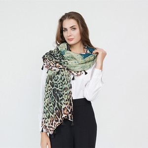 Ms Autumn And Winter Gradient Leopard scarf banquet Wild tassel shawl Fashionable warm scarf new style wholesale