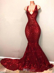 Red Blingbling Sequins Prom Dresses Sleeveless Mermaid Plunging V Neck Black Girl Prom Dresses Evening Party Gowns BA7779