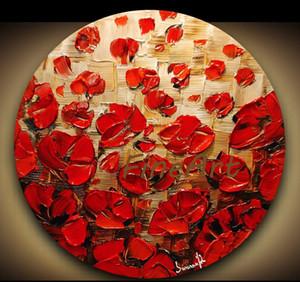 Palette Knife Oil Painting Red papavero floreale su tela moderna art deco la pittura decorativa regalo unico Kungfu Art