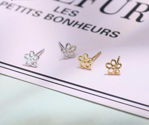 2018 New Stud Earrings 925 Sterling silver Little Flower Earrings for Wedding Party Silver  Gold color Free Shipping
