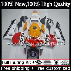 Corpo de injeção Repsol branco + tanque para HONDA CBR 600RR CBR600 RR F5 05 06 59PG3 CBR600RR CBR600F5 CBR 600 RR F5 2005 2006 Carenagem de carroçaria