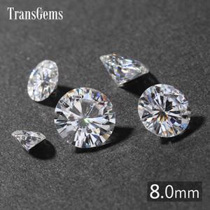 TransGems 2ct карат 8 мм GH бесцветный круглый бриллиант вырезать лаборатории выросли Moissanite Алмазный тест Postive как реальный Алмаз