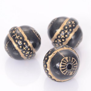 40 Pc 16mm Vintage Retro Ethnic Acrylic Oval Beads With Gild Gold Lined Star Antique Design Beads Jewelry Making Accessories