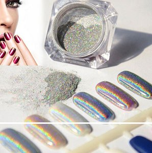 NEW ARRIVAL Wholesale-1g Laser Silver Holographic Nails Glitters Powder DIY Nail Art Sequins Chrome Pigment Dust Shiny Magic Laser Mirror
