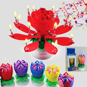 Colorful Petals Music Candle Children Birthday Party Lotus Sparkling Flower Candles Squirt Blossom Flame Cake Accessory Gift HH7-204