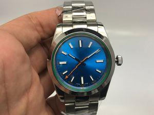 Relojes de lujo para hombre Movimiento mecánico automático 1164GV Azul Dial Zafiro Cristal Oculto Plegable Corona Cierre Hombres Relojes 40 MM