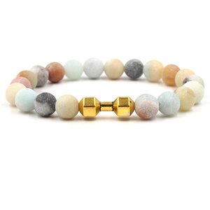 3 colores Dumbbell Charms Strand Pulsera 8mm Matted Colorful Stone Beads Pulseras Buda Yoga Strench Joyería
