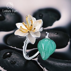 Lotus Fun Real 925 Sterling Silver Natural Aventurine Gemstone Fine Jewelry Anello fiore Lotus Whispers Anelli per le donne Bijoux