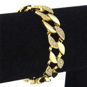 Майами Снаряженной кубинского Link Mens браслет цепь из нержавеющей стали Hip Hop Iced Out Золотого цвета 8inch * 1.5cm