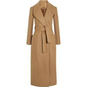 X-длинные шерстяные павлины с поясом осень зима 2016 новый тонкий элегантный женская верблюжья шерсть пальто 2016 осень зима пальто женщин
