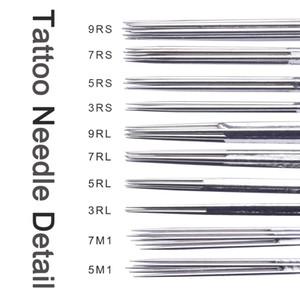 Professional 100pcs Aiguilles Assorties De Tatouage Stérilisées Mixtes 10 Tailles