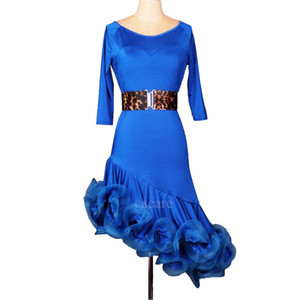 Latin Dance Dress Women Samba Dance Costumes Tango Salsa Dress Samba Costume 7 Colors D0014 Fluffy Hem Waist Belt 1 2 Sleeve