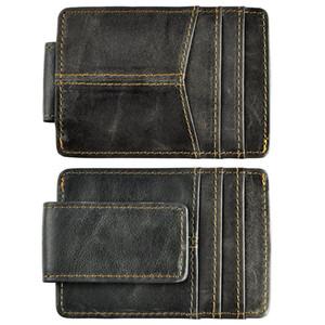 남성 품질 가죽 패션 여행 슬림 지갑 전면 포켓 자기 머니 클립 미니 카드 케이스 지갑 남성용 1017G