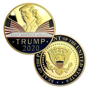 Donald Trump 2020 Coin Challenge Re-Election - Placcato in oro 24 carati Keep America G ...