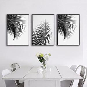 أسود أبيض النخيل شجرة يترك قماش الملصقات والمطبوعات البسيط اللوحة جدار الفن ديكور صورة الشمال نمط ديكور المنزل
