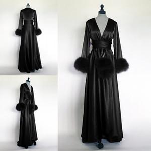 드레스에 대한 여성 잠옷 잠옷 잠옷 드레싱 2021 겨울 블랙 나이트 가운 목욕 가운 가짜 모피 결혼식 신부 들러리 가운