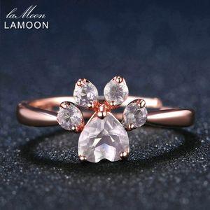 Lamoon الدب باو 5 ملليمتر 100٪ الطبيعية الوردي روز كوارتز خاتم قابل للتعديل 925-Sterling-Silver غرامة مجوهرات للنساء الزفاف RI027-2