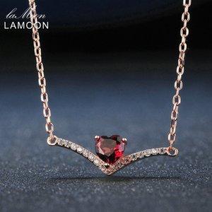 Lamoon Elegent 4mm Natürliche Herz Rote Granat 925 Sterling Silber Kette Anhänger Halskette Frauen Schmuck S925 LMNI044 Y1892805