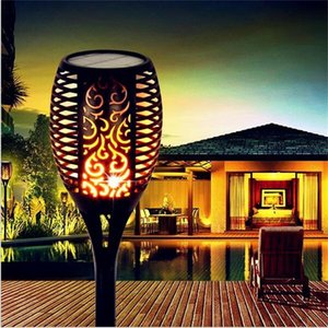 Waterproof LED Solar Garden Lights Solar LED Lawn Lamp Flame Torch Light Outdoor Path Yard Landscape Decoration Lighting