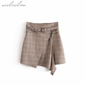 2018 Women Cotton Plaid Skirts Knee Length With Belt Knee Length Skirts WF266