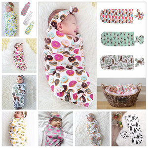 9 Farben Infant Floral Baumwolle Swaddle Decke 2 Stück Set Schlafsäcke Musselin Wrap + Stirnband Neugeborenen Baby Pyjamas Hairband AAA482