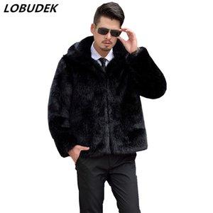 2018 남성 Faux Fur Coat 검은 갈색 회색 느슨한 캐주얼 겉옷 겨울 남자의 따뜻한 overcoat 야외 패션 유행 의복 복