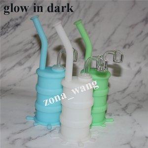 Portable Glow in Dark Shisha Silikon Barrel Rigs für das Rauchen trockenes Kraut Unbreakable Wasser Percolator Bong Silikon Mundstück für Bong