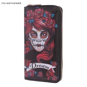 THINKTHENDO мода женщины череп бумажник телефон случае сцепления кошелек Леди длинная сумка держатель карты