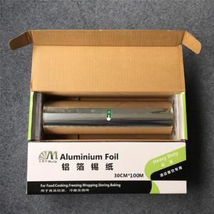 Papel de aluminio de 30 cm * 100 m con cortador mental papel de envolver alimentos servicio de alimentos papel de estampado en caliente para barbacoa