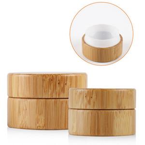 5g 10g alto Qualtiy de bambú arte botella crema del tarro del clavo máscara de crema recargable vacío de maquillaje cosmético de la botella de contenedores
