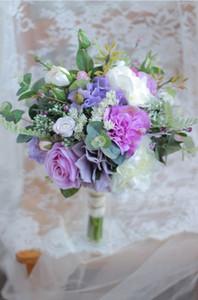 2018 new French high-end custom light purple rose hydrangea wedding bride bridesmaid simulation holding flowers