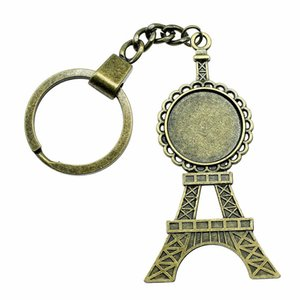 6 Pieces Key Chain Women Key Rings Couple Keychain For Keys Tower Single Side Inner Size 20mm Round Cabochon Cameo Base Tray Bezel Blank