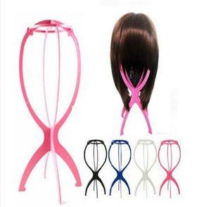 Nuovi parrucca Stand Stabile pieghevole di plastica del cappello dello schermo durevole basamento della parrucca dell'attrezzo degli accessori dei capelli neri Colore Rosa