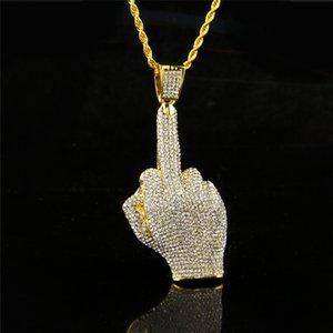 Para hombre collares 18 k chapado en oro dedo medio diseño personalizado Hip Hop joyería cadenas largas hombres Rhinestone collares pendientes