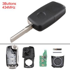 VW / Volkswagen Beetle / Caddy / Tiguan / Touran / Arriba 2009-2014 KEY_112 için 434MHz 3 Düğmeler Anahtarsız Uncut Ayaklı Uzaktan Anahtarlık 5K0837202AD