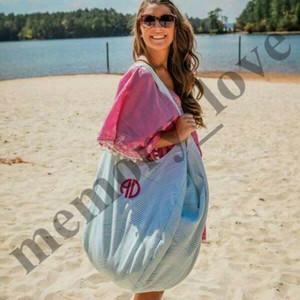 4 цвета Оптовая персонализированные негабаритных большой Бродяга пляжная сумка дети пляж игрушки получить мешок Seersucker пляжная сумка Бродяга сумки