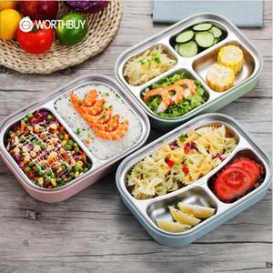 WORTHBUY 304 Caja de almuerzo japonesa de acero inoxidable con compartimentos Caja de microondas Bento para niños Contenedor de comida escolar de picnic